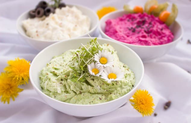 Low FODMAP sauces - three colourful dips in bowls