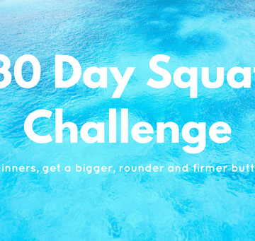 Blue sea background with 30 day squat challenge text on top