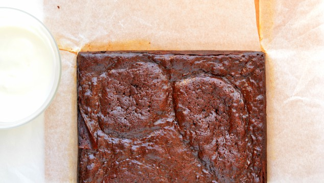 Healthy peppermint brownie before it's been cut or frosted