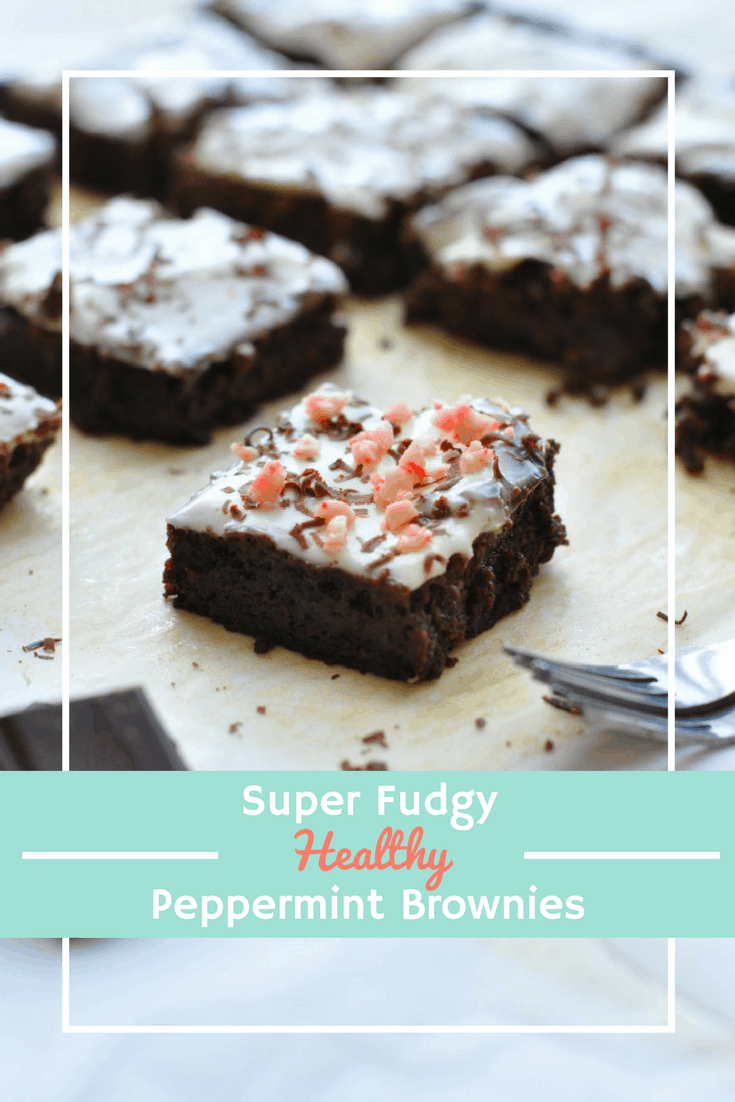 Healthy Peppermint Brownies topped with crushed candy canes