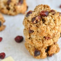 Close-up of yummy white chocolate cranberry cookies