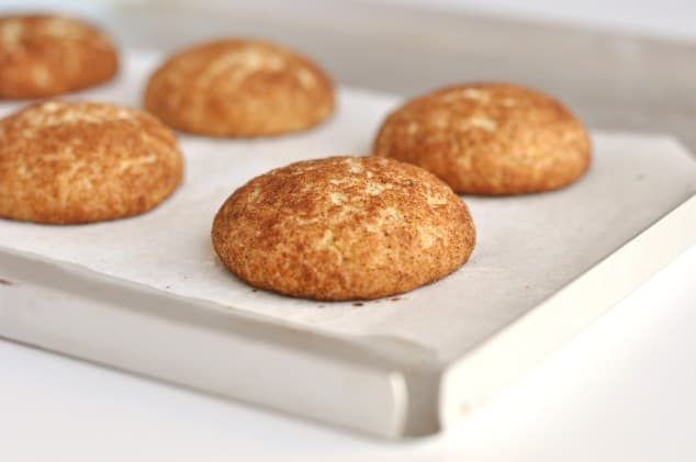 Freshly baked healthy snickerdoodles on a baking tray