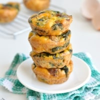 A stack of healthy paleo egg muffins in a plate