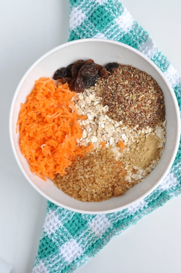 A bowl filled with the dry ingredients for carrot cake overnight oats