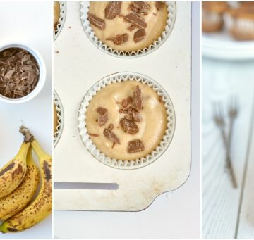 A collage of healthy banana bread muffins from ingredients to process to final image