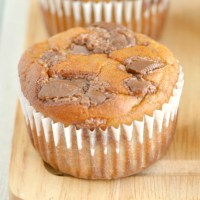 A close-up of a healthy banana bread muffin
