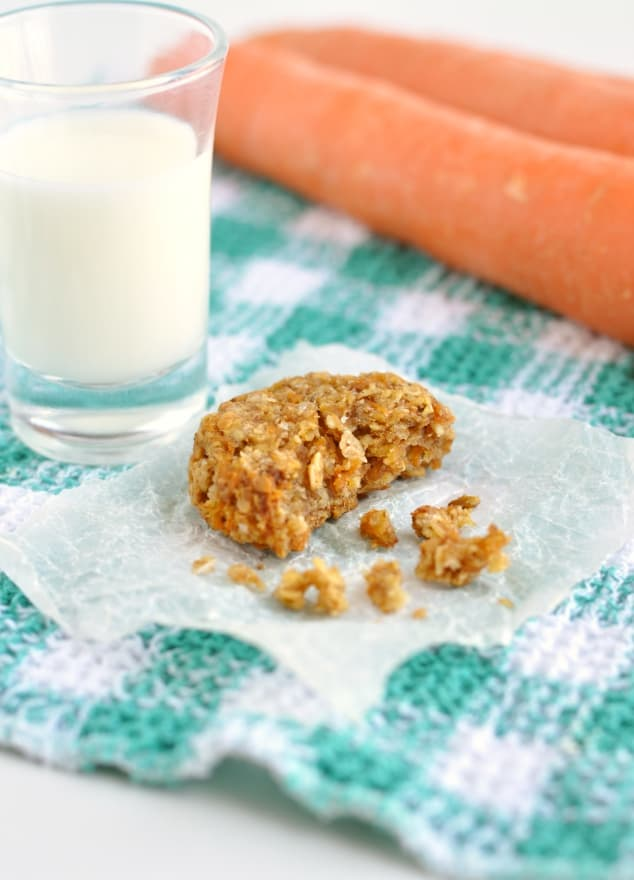 A healthy carrot cake cookie with some crumbs