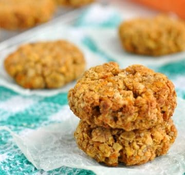 2 healthy carrot cake cookies stacked into a tower