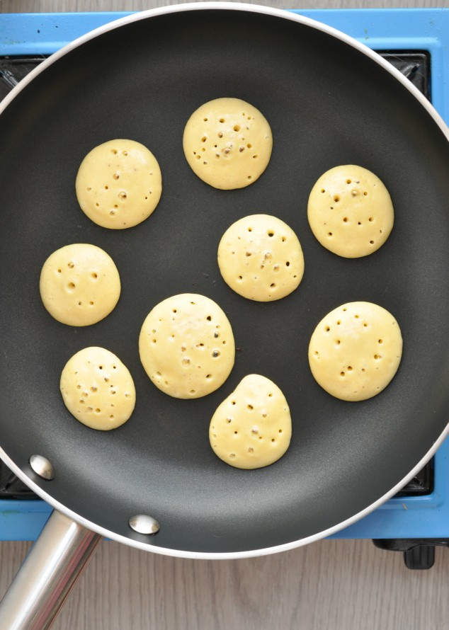 Healthy 3 Ingredient Banana Pancakes cooking in a pan
