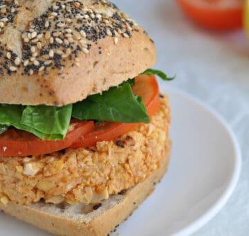 Close-up of a Moroccan Vegan Burger