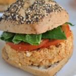 Final burger made following this Moroccan Vegan Burger Recipe
