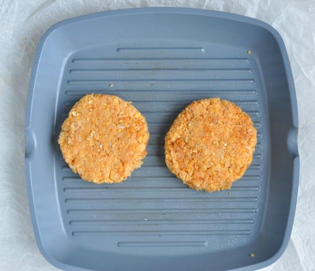 Two Moroccan Vegan Burgers in a grill pan