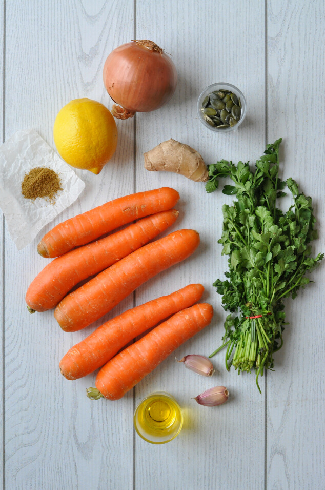 The ingredients you need for this creamy carrot and coriander soup recipe.