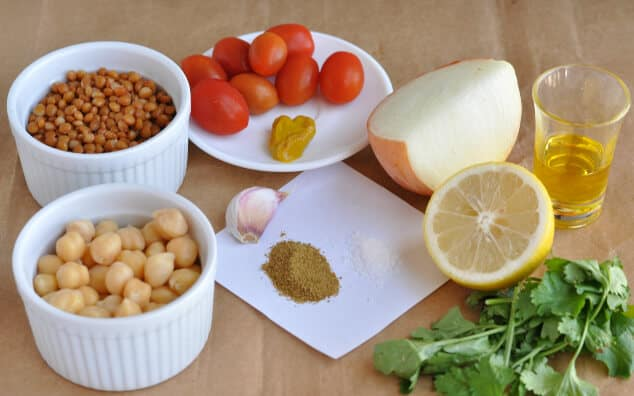 The ingredients you need to make lentil chickpea salad.